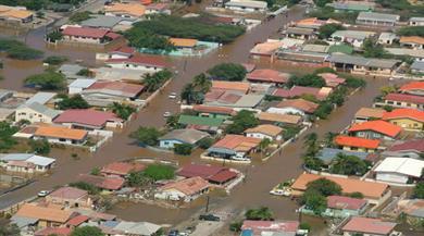 Flooded neighbourhoods after heavy rainfall
