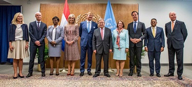 The Secretary-General of the United Nations, Mr. António Guterres, with the delegate of the Kingdom of the Netherlands at the 74th General Assembly of the United Nations:, King Willem Alexander, Queen Maxima, the four Prime Ministers of the Dutch Kingdom, PM Evelyn Wever-Croes of Aruba, PM Leona Marlin Romeo of St-Maarten, PM Eugene Rhuggenaath of Curacao and PM Mark Rutte of the Netherlands. Also on the photo is Minister Blok of the Netherlands and Minister Kaag from the Netherlands.