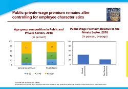 Public private wage premium remains after controlling for employee characteristics