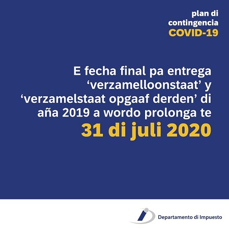 Deadline extended for submission of collective wage sheet ('verzamelloonstaat) and collective statement for third parties (verzamelstaat opgaaf derden') 2019 te 31 di juli 2020