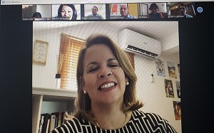 Online meeting of Management Team of the Guardian Group Fatum Aruba with the Prime Minister of Aruba Evelyn Wever-Croes, Also present were the Director of  CEDE Aruba and Coordinator of Happy to Give Back, Daniel Tecklenborg and Varelie Croes of FUTURA.